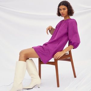 Aritzia puff sleeve mini dress purple size L NWT